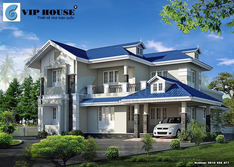 Mẫu thiết kế nhà 2 tầng mái thái với ngói xanh ấn tượng độc đáo
