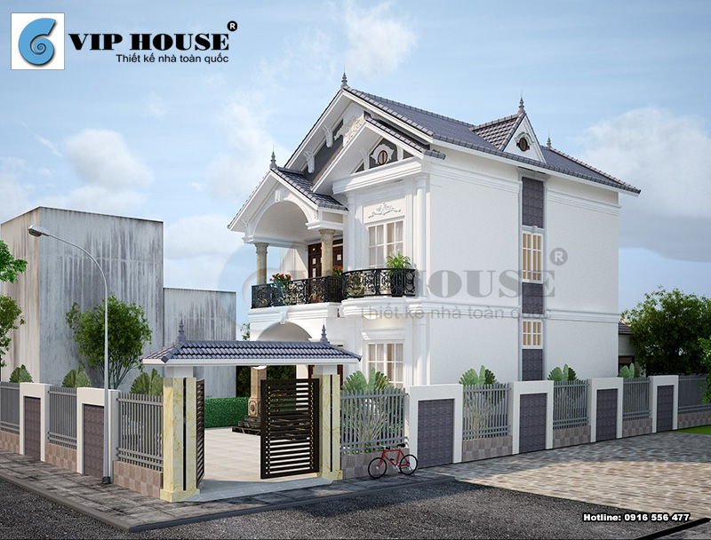Mẫu thiết kế nhà 2 tầng mái thái đơn giản nhưng tiện nghi cho gia đình