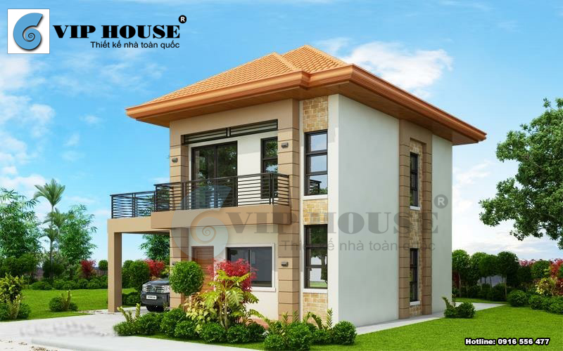 Nhà 2 tầng kết cấu mái thái hiện đại có gara