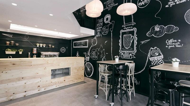 Hình ảnh: Mẫu thiết kế quán cafe được trang trí độc đáo với hình vẽ 3D