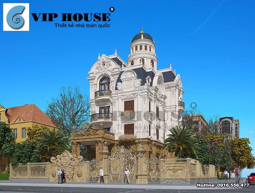 Hình ảnh: Mẫu thiết kế biệt thự cổ điển Pháp 4 tầng đẹp đẳng cấp và sang trọng