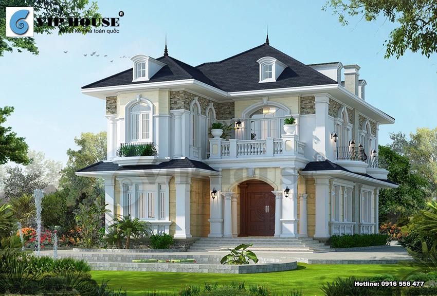 Mẫu thiết kế biệt thự 2 tầng đẹp và độc đáo được xây dựng nhiều ở nông thôn
