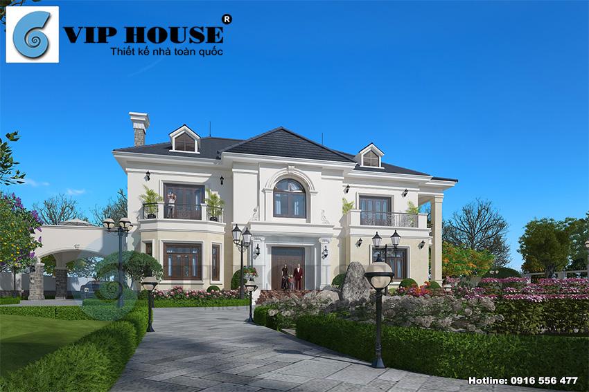Hình ảnh: Mẫu thiết kế biệt thự 2 tầng phong cách tân cổ điển với sân vườn cảnh quan đẹp
