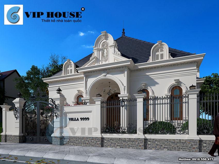 Hình ảnh: Mẫu thiết kế kiến trúc biệt thự 1 tầng phong cách Pháp diện tích 280m2