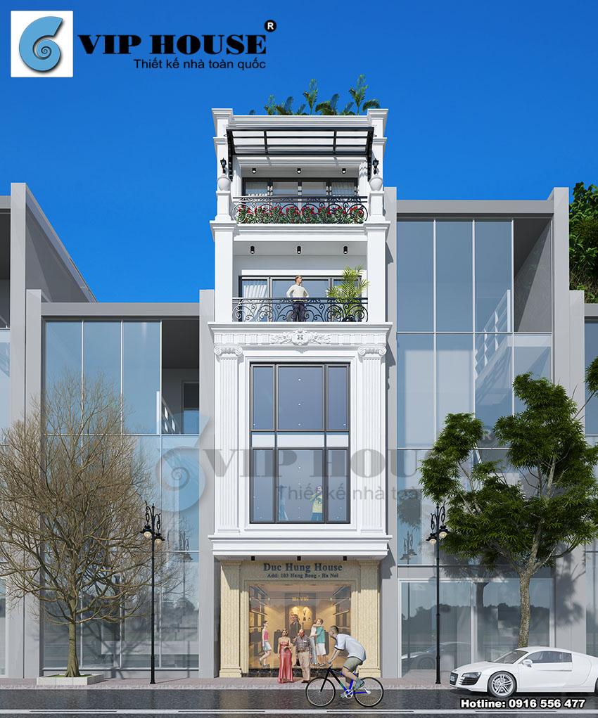 Hình ảnh: Mẫu thiết kế nhà phố phong cách tân cổ điển với kiến trúc độc đáo