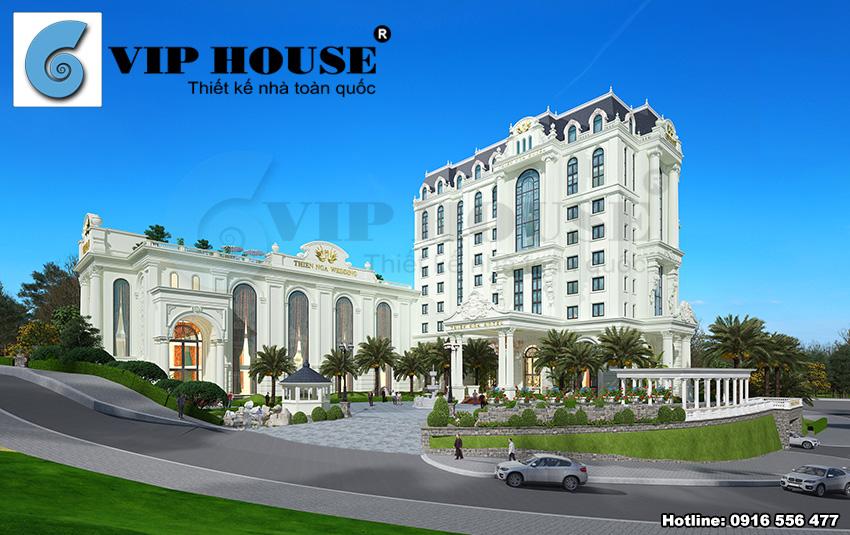 Hình ảnh: Công trình thiết kế khách sạn 4 sao kiêm nhà hàng tiệc cưới phong cách Pháp