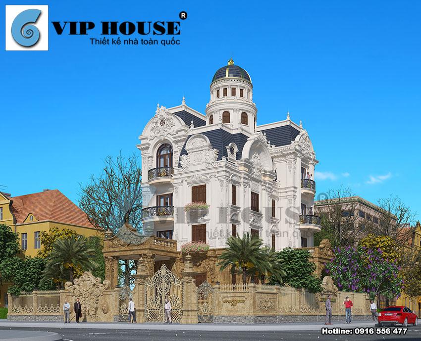 Hình ảnh: Mẫu thiết kế biệt thự cổ điển Pháp diện tích 240m2 có mái chóp lâu đài
