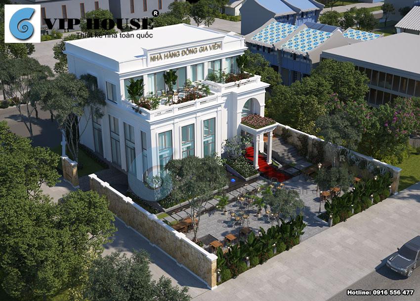 Hình ảnh: Mẫu thiết kế nhà hàng ăn uống sân vườn phong cách tân cổ điển