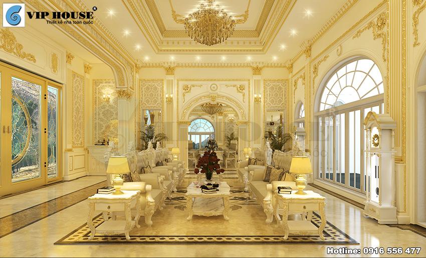 Hình ảnh: Mẫu thiết kế nội thất biệt thự cổ điển Pháp phong cách hoàng gia