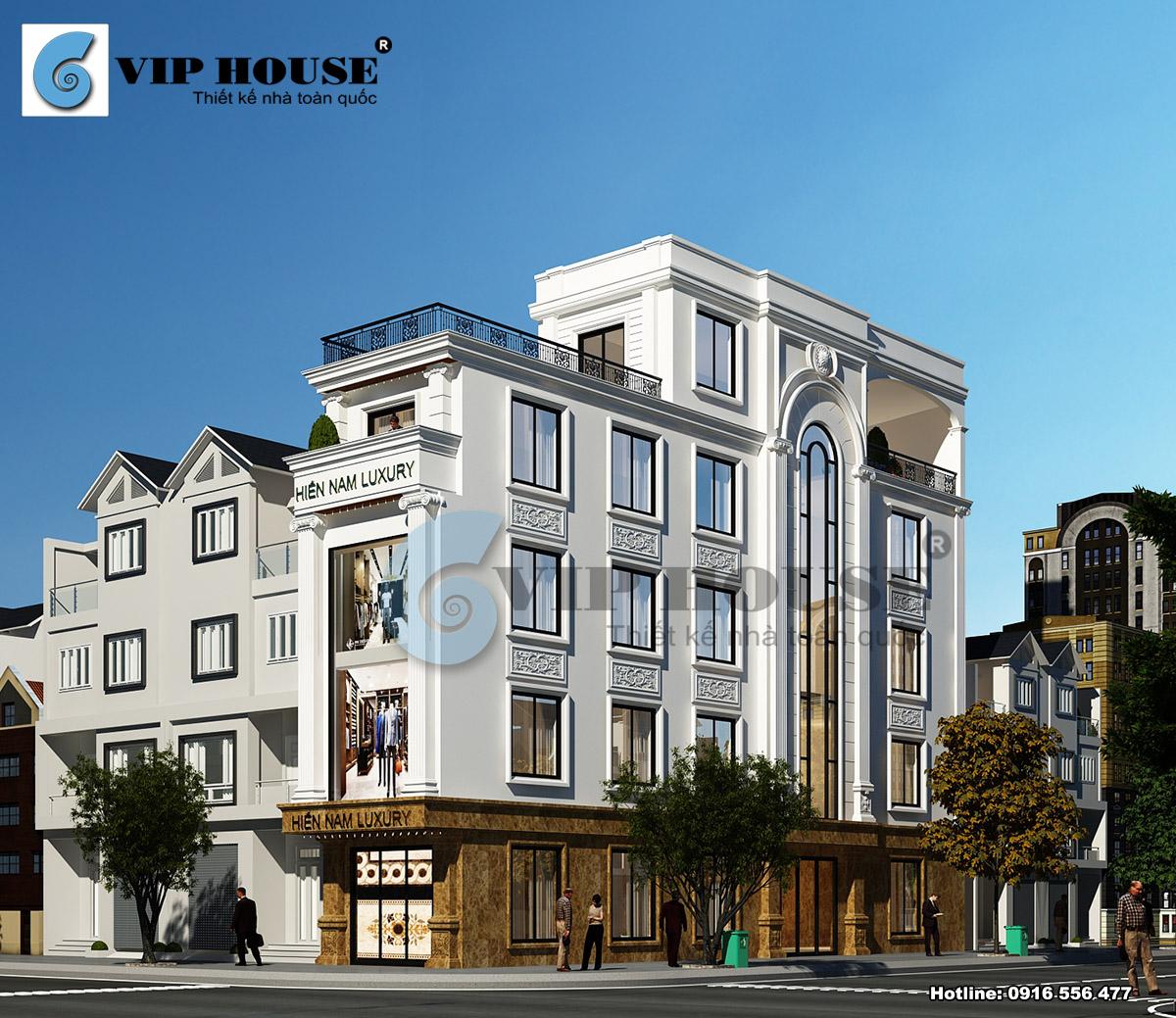 Hình ảnh: Mẫu thiết kế nhà phố tân cổ điển 2 mặt tiền kết hợp nhà ở và kinh doanh