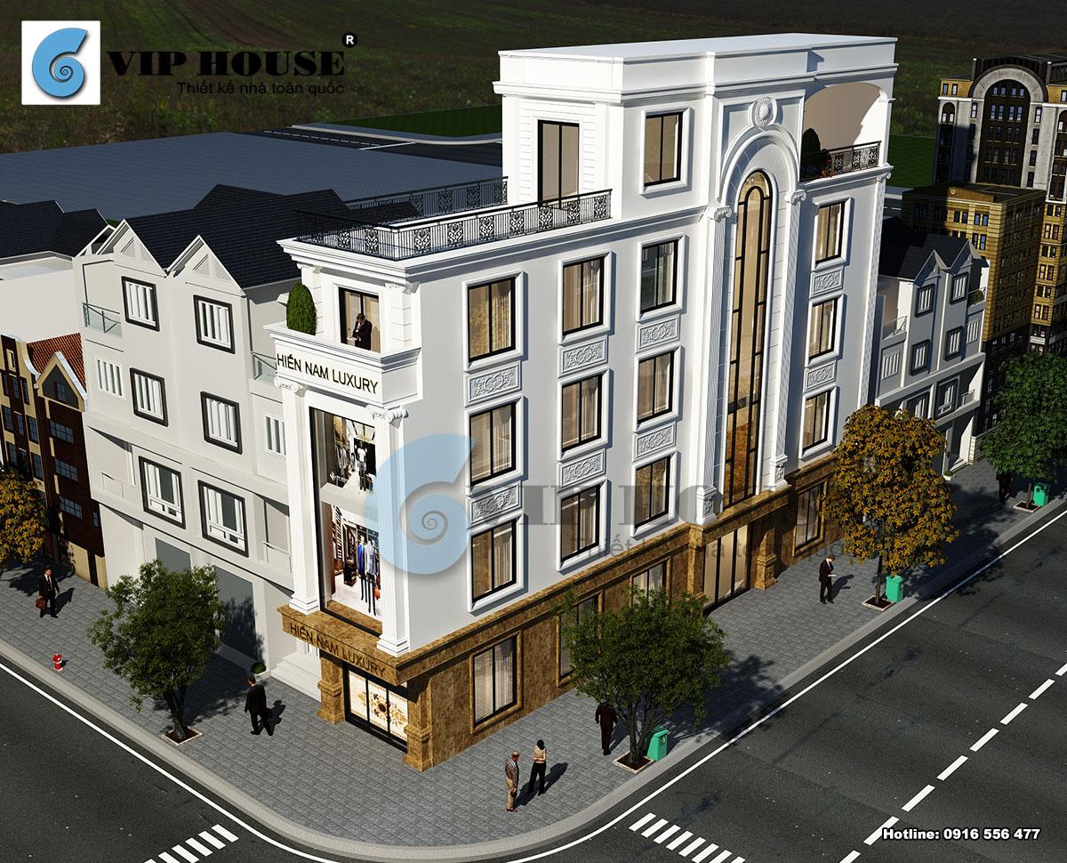 Hình ảnh: Phối cảnh tổng thể đẹp mãn nhãn của mẫu thiết kế nhà phố tân cổ điển kết hợp nhà ở và kinh doanh