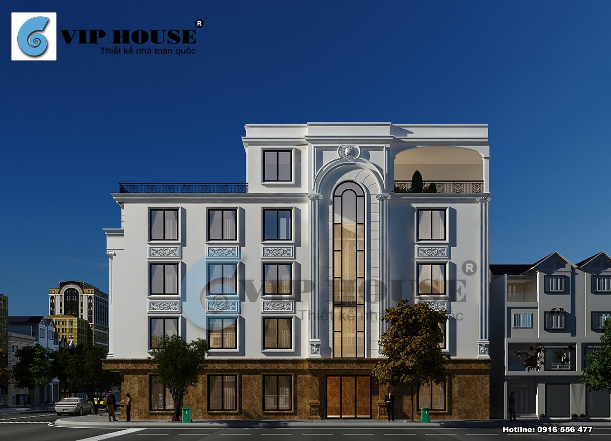 Hình ảnh: Mẫu nhà phố tân cổ điển được thiết kế với chiều sâu lớn rất thuận tiện cho nhu cầu sử dụng của gia đình