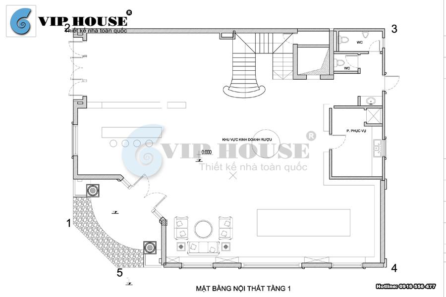 Mặt bằng công năng nội thất tầng 1 biệt thự tân cổ điển