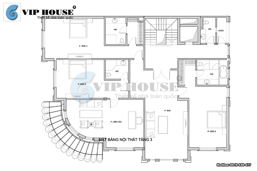 Mặt bằng bố trí nội thất tầng 3 trong mẫu biệt thự 5 tầng