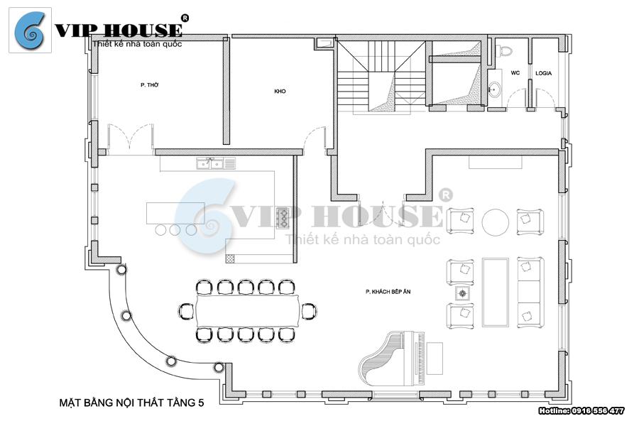 Mặt bằng tầng 5 của mẫu thiết kế biệt thự 5 tầng