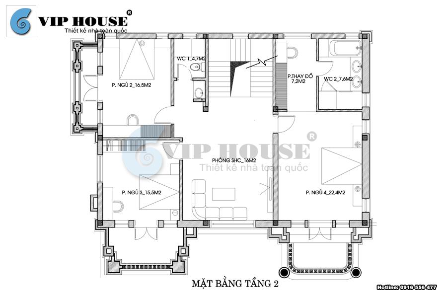 Thiết kế biệt thự kiểu Pháp 2,5 tầng tại Nghệ An - VH BTP 021
