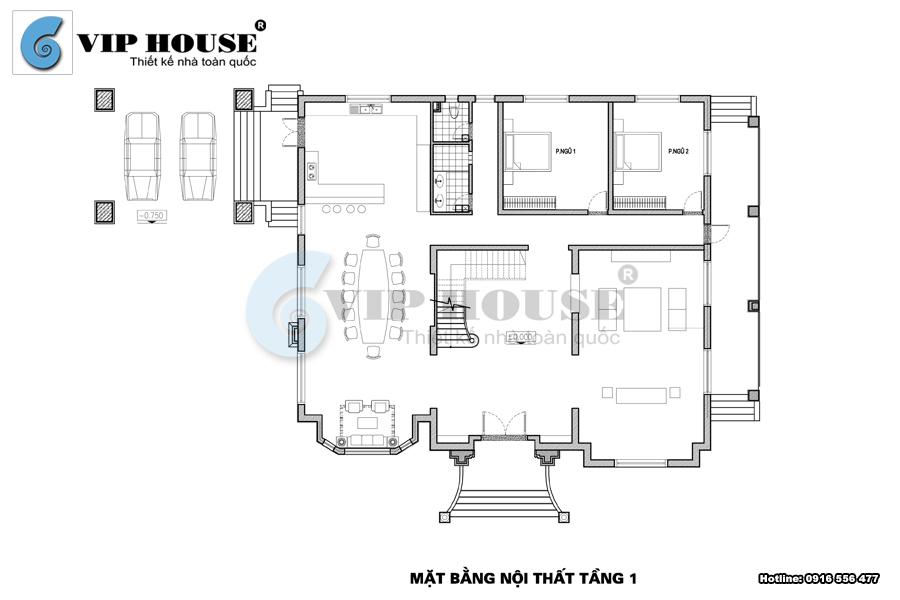 Mặt bằng bố trí công năng nội thất tầng 1 biệt thự tân cổ điển