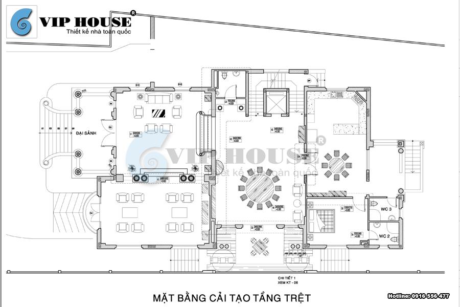 Thiết kế biệt thự lâu đài kiểu Pháp tại Vũng Tàu - VH BTP 015