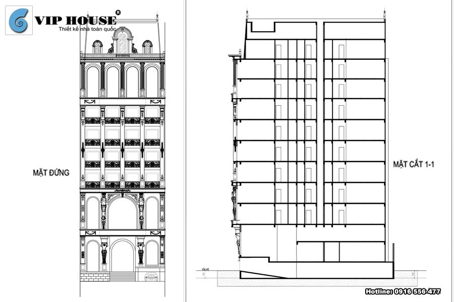 Mặt đứng, mặt cắt 1-1 khách sạn tân cổ điển 12 tầng