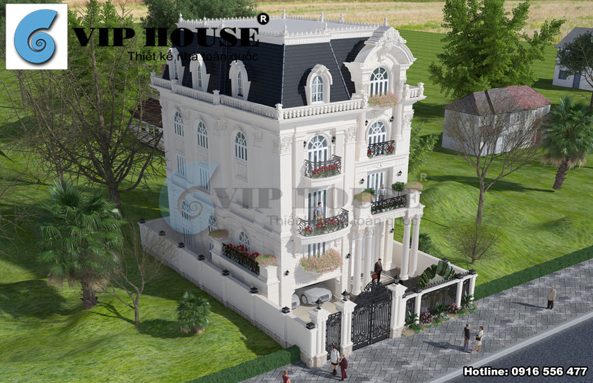 2 mặt tiền giúp ngôi biệt thự kiểu Pháp phô diễn được nét đẹp tinh tế