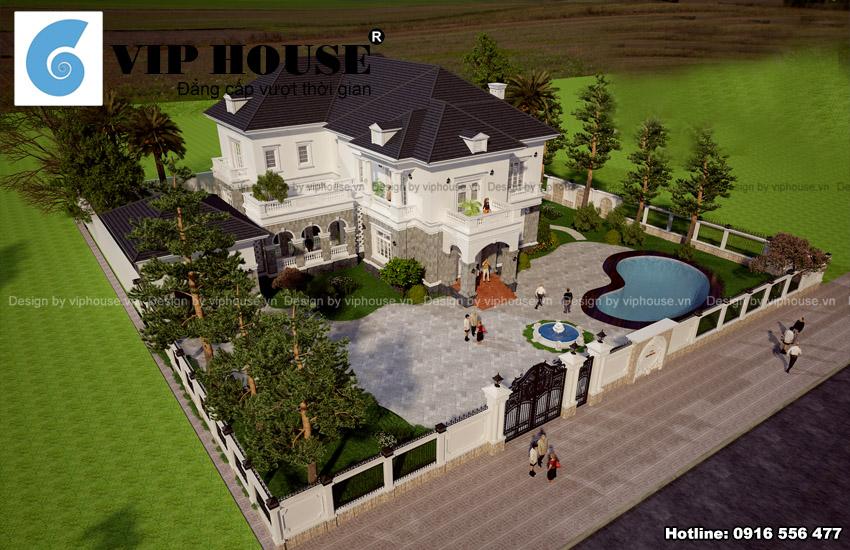 Hình ảnh: Mẫu thiết kế biệt thự Pháp 2 tầng diện tích 300m2 có bể bơi ngoài trời