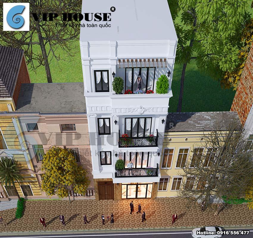 Thiết kế nhà lệch tầng tân cổ điển mặt tiền 7m - VH NP MS003