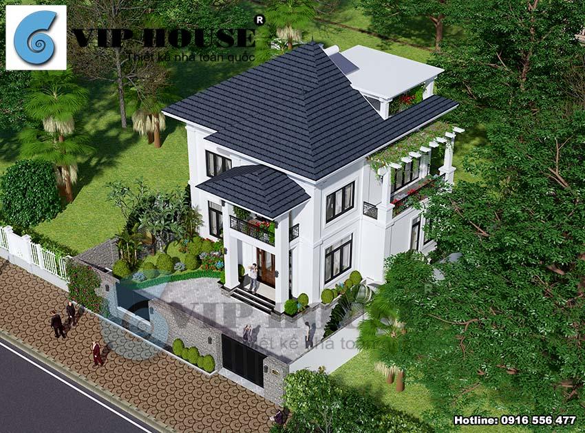 Thiết kế biệt thự vườn 2 tầng tân cổ điển diện tích 100m2 - VH BTV 001