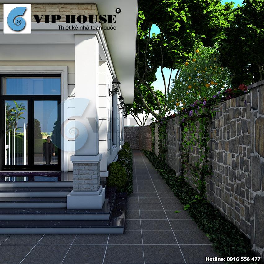 Nhà vườn 1 tầng đẹp kiến trúc tân cổ điển - VH TKNV 016