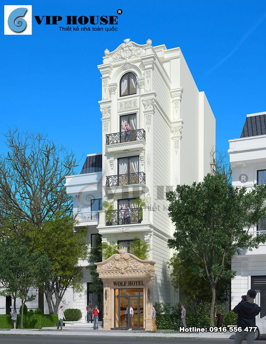 Mẫu khách sạn mini 6 tầng đẹp kiểu cổ điển