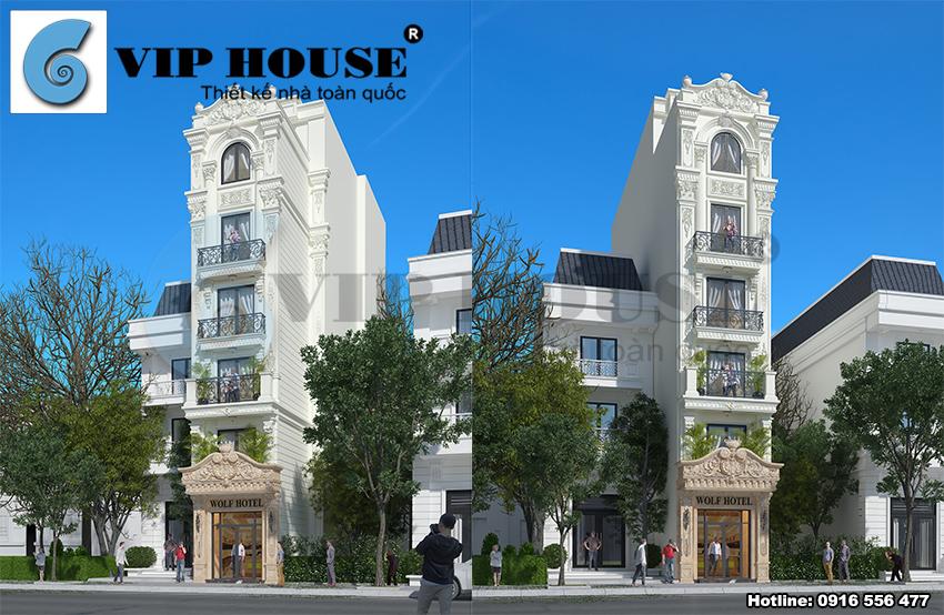 Công trình khách sạn mini kiểu Pháp mặt tiền nhỏ tại Hà Nội