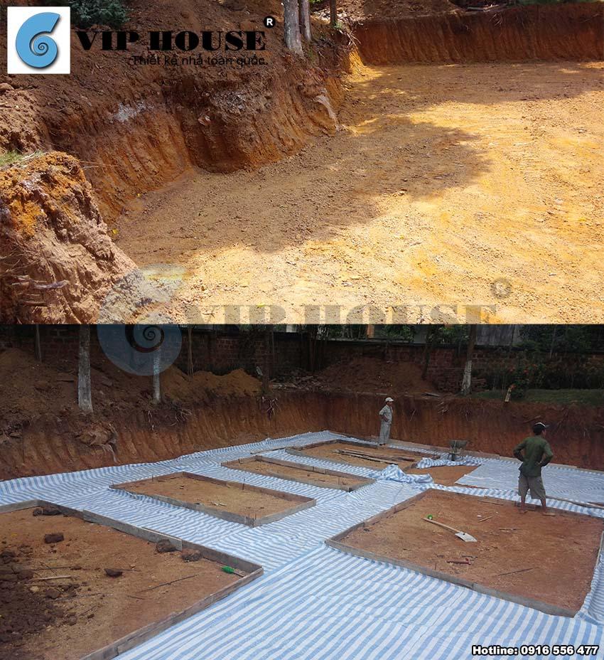 Khâu đào đất và chia mặt bằng của công trình được chuẩn bị một cách rất cẩn thận.
