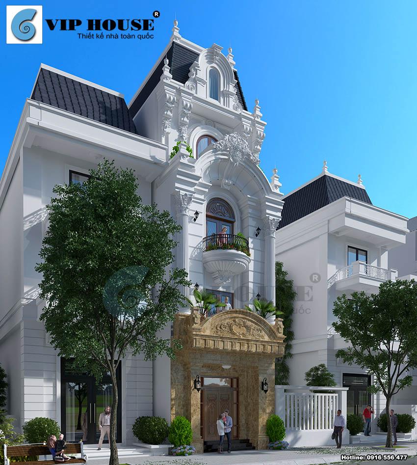 Thiết kế nhà phố cổ điển Pháp 4 tầng tại Vĩnh Phúc
