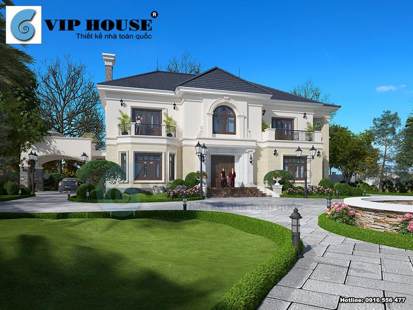 Hình ảnh: Mẫu thiết kế biệt thự Pháp 2 tầng phong cách tân cổ điển diện tích 300m2