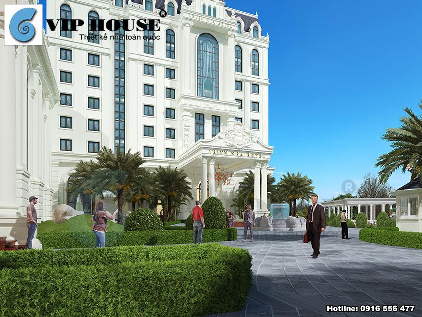 Khuôn viên thoáng đãng và xanh mát tạo cảm giác thoải mái cho du khách