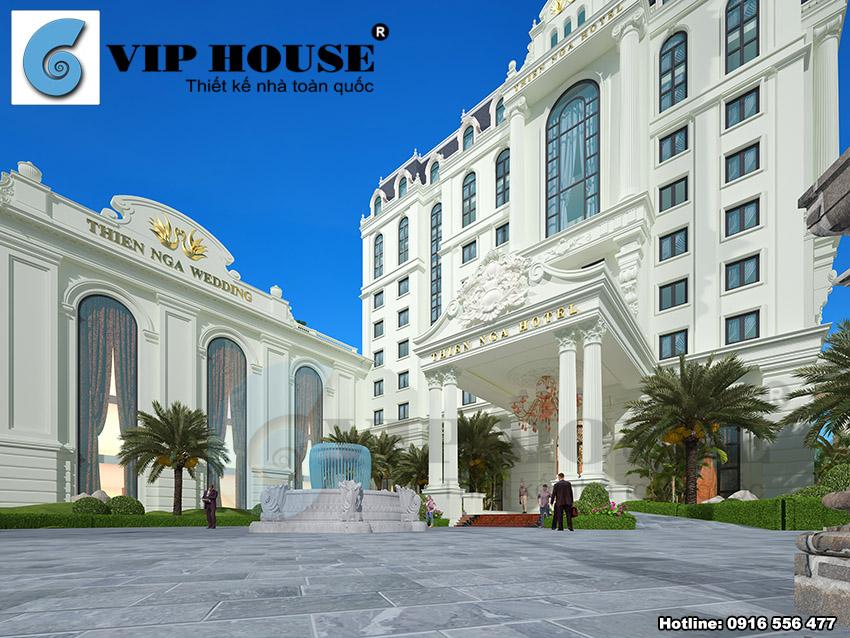 Sự kết hợp chặt chẽ của 2 khối công trình khách sạn và nhà hàng tiệc cưới
