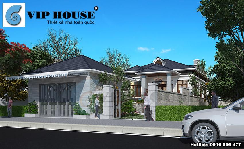 Thiết kế nhà vườn hiện đại 1 tầng 4 phòng ngủ đẹp - VH TKNV 009