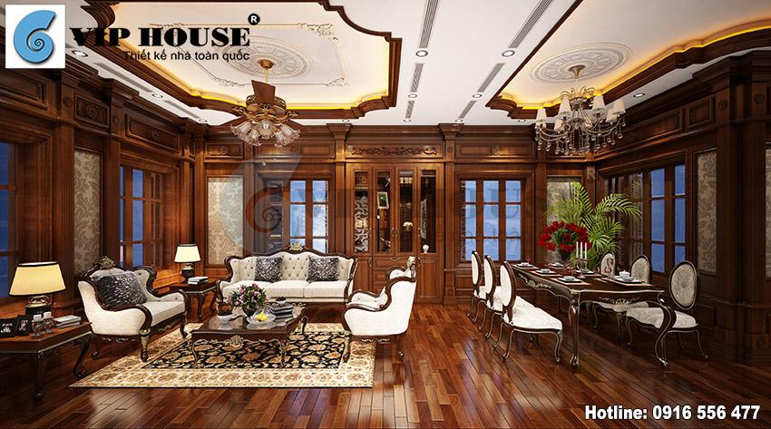 Thiết kế nội thất phòng khách đẹp với đồ gỗ