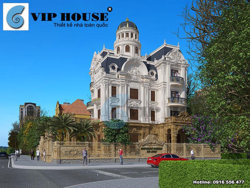 Mẫu biệt thự lâu đài cổ điển 4 tầng sang trọng và đẳng cấp - VH BTP 018