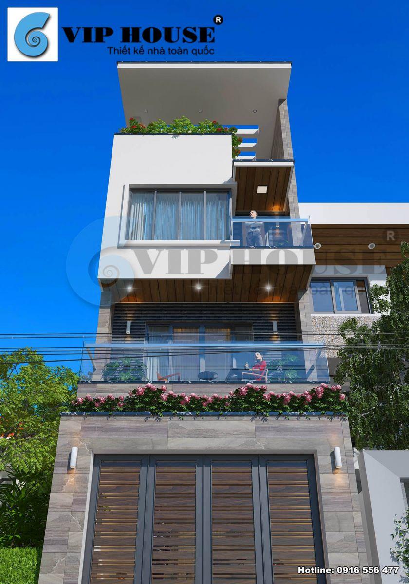 Thiết kế nhà phố 4 tầng hiện đại mặt tiền 5m đẹp hút mắt - VH NP MS002