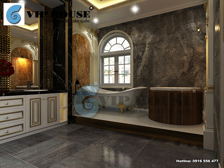Thiết kế biệt thự kiểu Pháp 1 tầng có bể bơi tại Bình Thuận - VH BTP 026